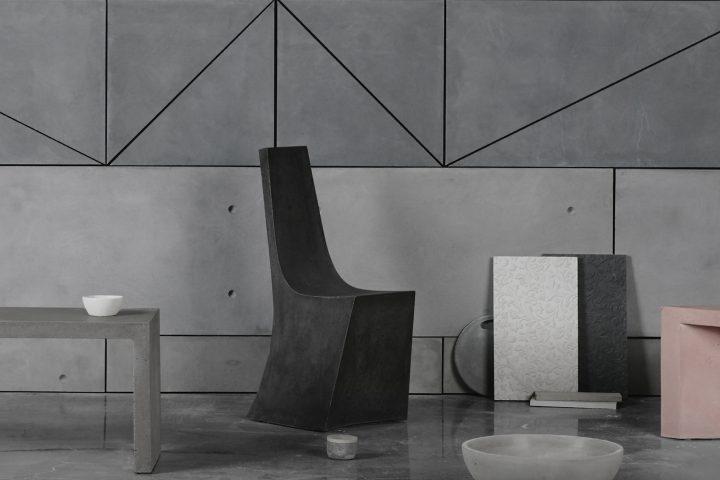 Chaise Alban et autres objets en béton par AtelierB